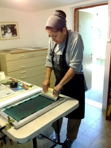 workshop 23  printing - transfer the color to the network by Wipe to paper/canvas/textile