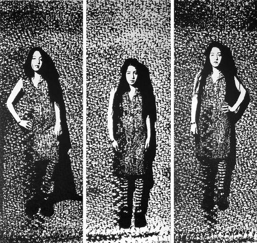 miriam 20 threeptych, screen print on paper, 2005, 33X100 cm