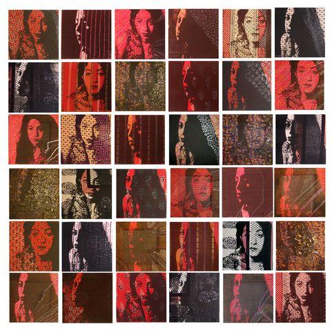 Miriam 4 screen on textile & paint, 2005, 200*200 cm (30*30 cm each square)