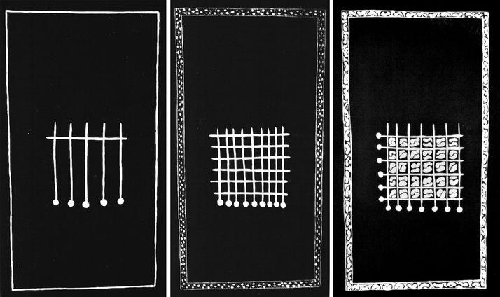 embedded 4 threeptych, etching & aquatint, 1995, 33*60 cm each one