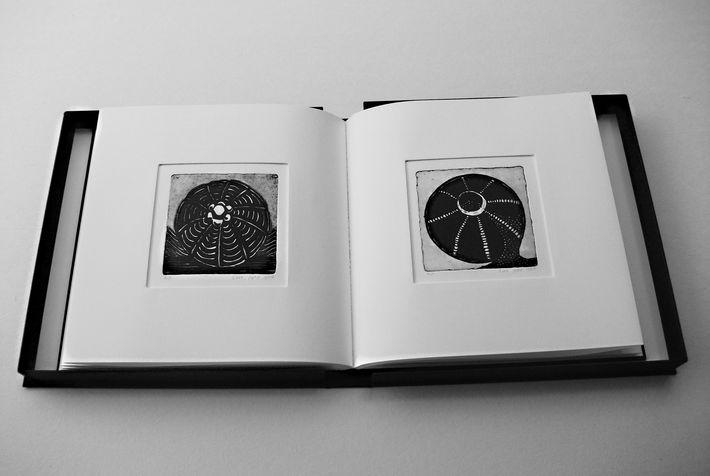 book B 8 ספר קופסא, בתוכם  12 תחריטים שהם 12 חרוזים לשרשרת שהושארה שם