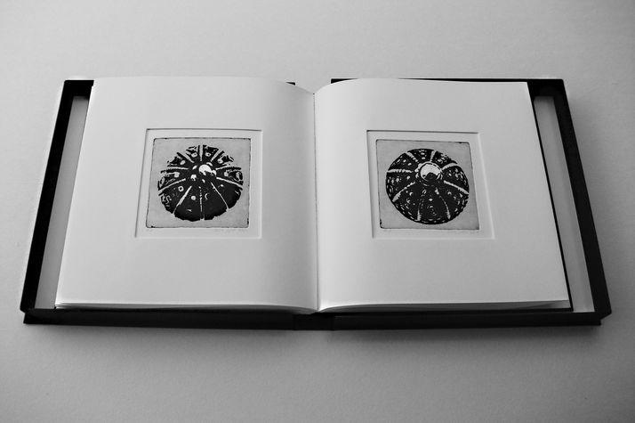 book B 4 ספר קופסא, בתוכם  12 תחריטים שהם 12 חרוזים לשרשרת שהושארה שם