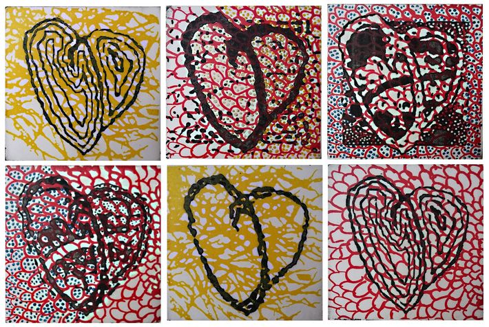 heart 49  etching & painting, 2018, 10*10 cm each one