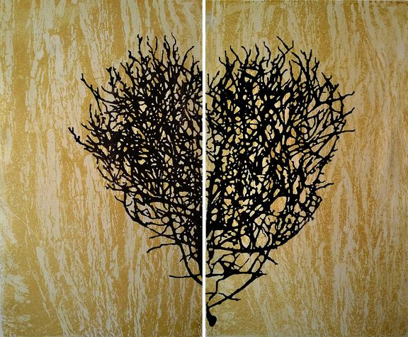 heart 1 deptych, screen print on canvas, 2014, 60*50 cm