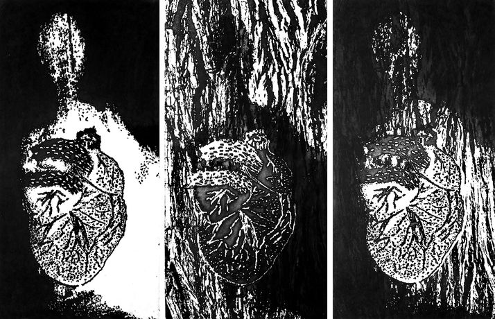 heart 19 triptych, photo etching, 2014, 60*40 cm
