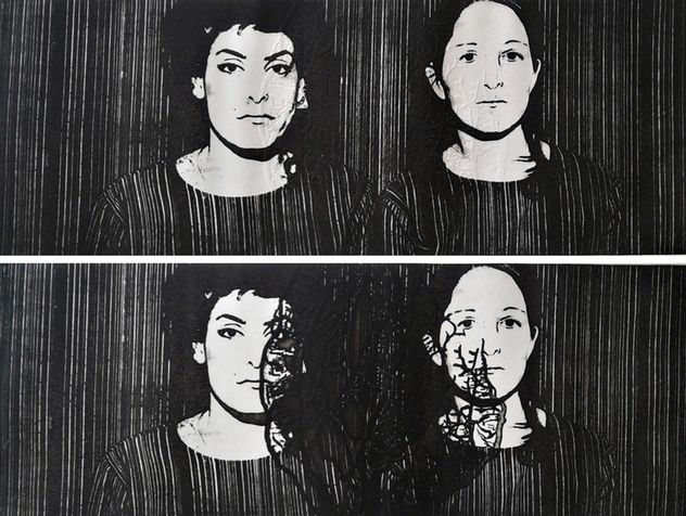 heart 5 deptych, photo etching, 2012, 40*30 cm