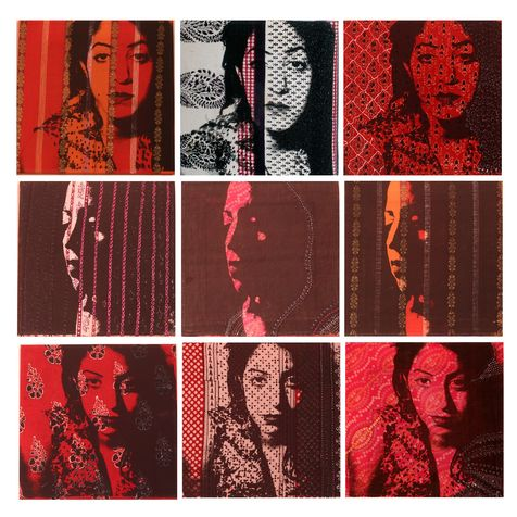 selected 16 screen on textile & paint, 2005, 90*90 cm (30*30 cm each square)